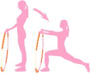Seitliche Kniebeugen, Strecken mit Hula Hoop