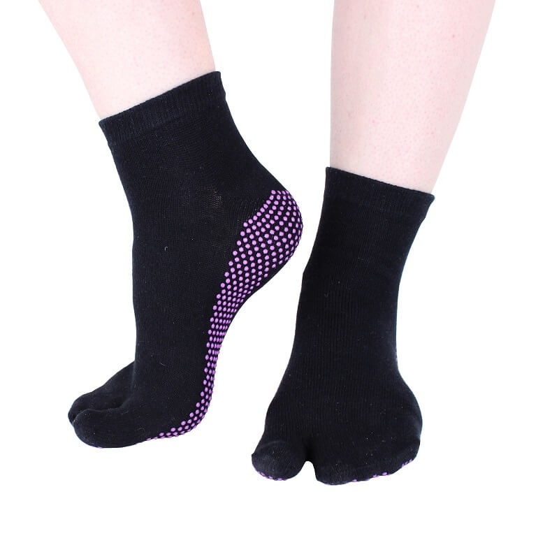 Hoopomania One Toe Antirutsch Yogasocken mit Gumminoppen, schwarz, Gr��e: S